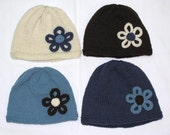Knit Hat with Flower - you choose the colours