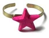 star cuff bracelet, neon bracelet, star jewelry, pink bracelet, neon pink bracelet, neon jewelry
