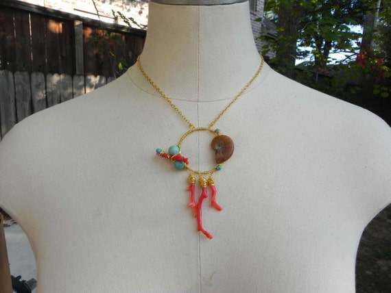 coral necklace, coral jewelry, ammonite necklace, ammonite jewelry, pink necklace, ammonite and coral necklace