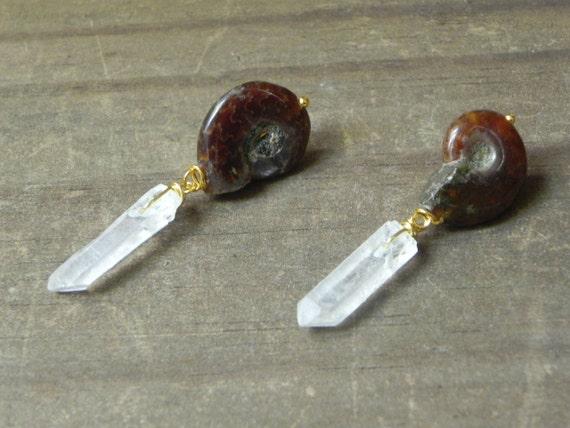 Ammonite earrings, crystal point earrings, ammonite jewelry, fossil earrings