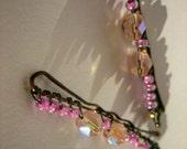 Pink beaded bobby pins - Set of 2