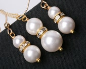 Lovely White Pearl and Gold Rhinestone on Gold Filled Necklace and Earrings Set,Bridesmaid Gift,Silver Available
