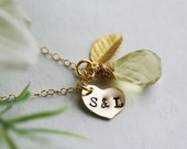 Personalized initial,Heart,Gold Leaf,Custom Birthstone,Stamped Necklace,Bridesmaid,Anniversary,Wedding Party Gift