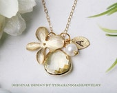Orchid flower Necklace,Personalized,Bridesmaid gifts,Citrine in bezel,Leaf initial,Wedding Jewelry,Flower girl,Birthday,Anniversary