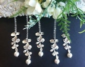 Set of 8,Bridsmaid necklace,Orchid Flower and Swarovski White/ Cream Pearl lariat Necklaces,Wedding jewelry, wedding jewelry