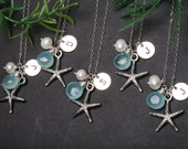 Set of 6,Starfish necklace,Bridesmaid Gifts,Initial necklace,beach theme wedding,custom initial & birthstone