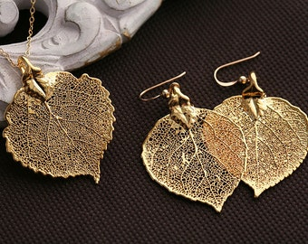 Fall Autumn Wedding,Wedding jewelry set,Baby aspen leaf,Gold filled,mothers gift,birthday,bridesmaid gifts,wedding jewelry