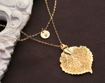 Double layer,Gold filled,Initial necklace,Aspen leaf,Initial letter charm,birthday gift,bridesmaid gifts,wedding jewelry,fall autumn weddin