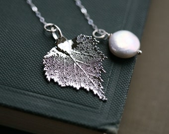Leaf Necklace, birch leaf,Coin Pearl,Lariat,Bridesmaid Gifts, real leaf necklace, Wedding Jewelry,Mother