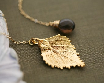 Real leaf necklace,custom birthstone necklace,Bridesmaid gift,Gold real birch leaf necklace,wedding jewelry,birthday gift,custom note cards