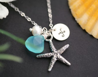 Starfish necklace,Bridesmaid Gifts,Starfish necklace,Initial necklace,beach theme wedding,custom initial & birthstone