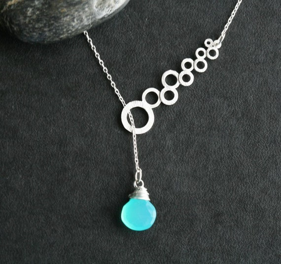 Modern Link and Aqua Green Blue Chalcedony Lariat Sterling Silver Necklace