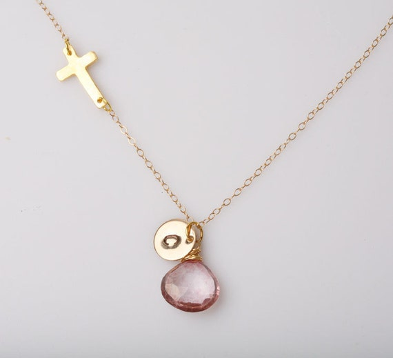 Original Design,Blessed  Necklace,Gold sideways cross necklace,Initial charm necklace,monogrammed necklace