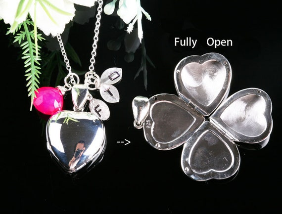 4-photo Solid Sterling Silver Locket and Custom initial and Birthstone Family Necklace,Original Design