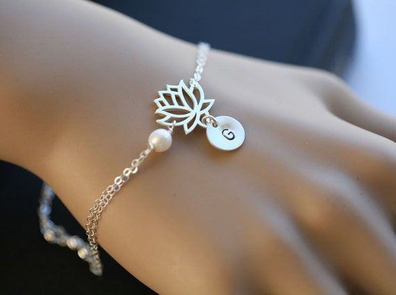 Lotus Bracelet,initial bracelet,customize monogram initial and birthstone,bridesmaid gifts,wedding jewelry,birthday,flower girl