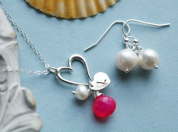 Wedding Jewelry set,Heart necklace,Freshwater pearl earrings,bridesmaid gifts,heart initial,Customize initial & birthstone,anniversary