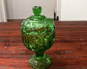 Green Glass Covered Compote/Candy Dish