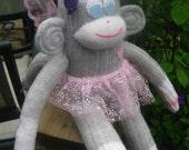 Fairy Sock Monkey in Gray Wool Faerie