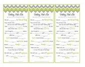 Chevron Wedding Mad Libs - Wedding Activity for Guests - 3 to a page (Printable)