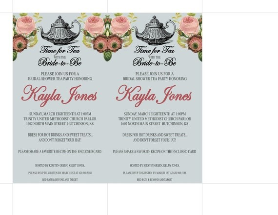 Vintage Tea Party Wedding Invitations: Bridal Shower Vintage Tea Party Invitation Printable By