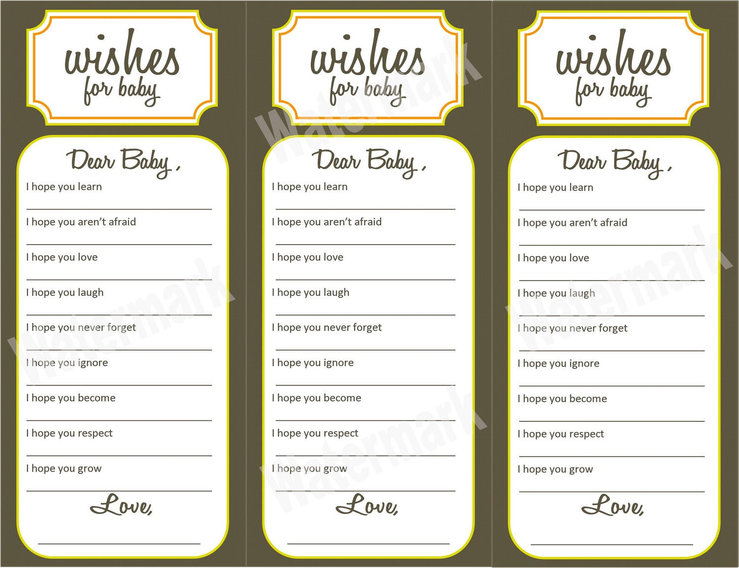 Wishes for baby baby shower activity printable by kjones4099 for Wishes for baby printable template