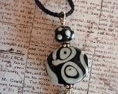 Ceramic Pendant Necklace on Black WireKnitz Mesh Black & White Classic