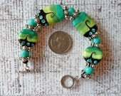 Catch A Wave Aqua & Lime Wave Glass Bracelet