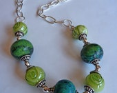 Yellow Turquoise Chunky Beaded Necklace  w/Sterling Silver
