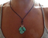 Chunky Turquoise Nugget  Necklace Brown Leather - Three Sisters