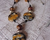 Abstract Large Black White & Mustard Ceramic Beads on Black Leather Statement Necklace