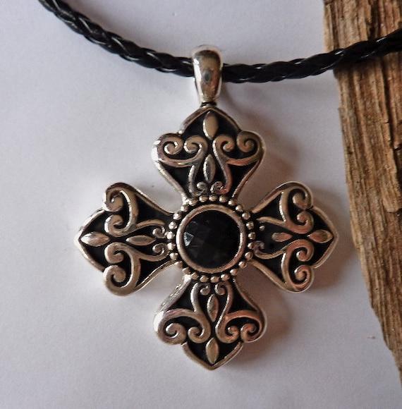 Maltese Cross Black&Silver Pendant Necklace