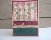 Birthday Card  Blank Card Burgundy and Green Floral Blank Inside- You Choose Sentiment on Front