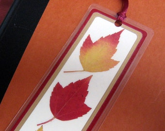 Pressed Fall Autumn Leaves in Red and Gold Laminated Bookmark