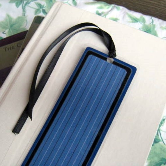 Blue and Black Pin-Striped Laminated Bookmark