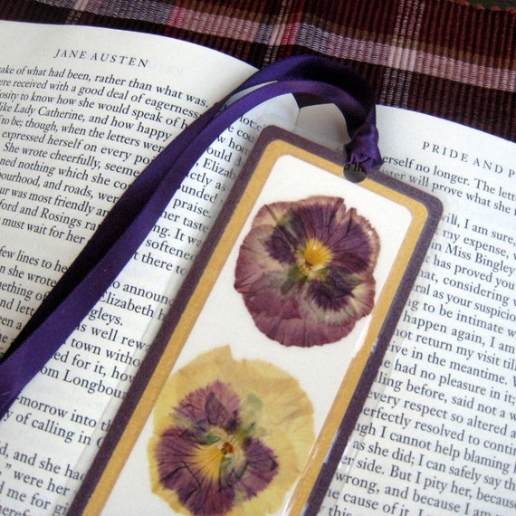 Pressed Flower Purple and Yellow Pansy Laminated Bookmark