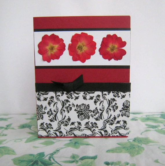 Pressed Flower Card Red Rose and Black Toille Notecard Blank Inside