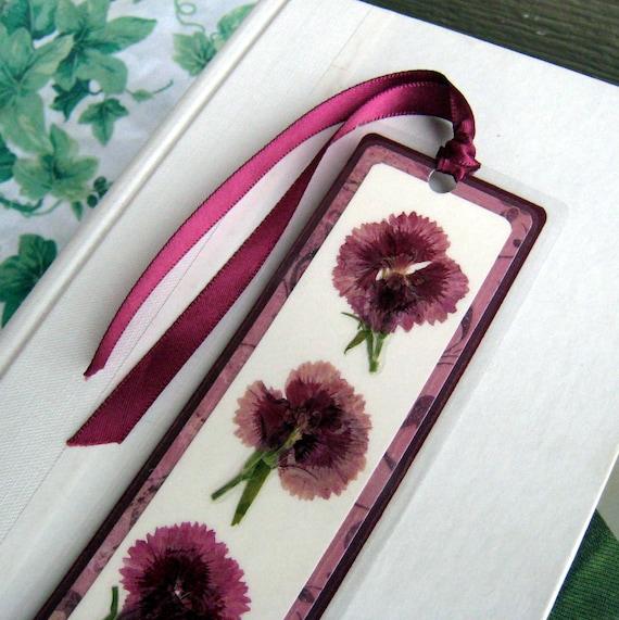 Pressed Flower Purple Carnation Laminated Bookmark