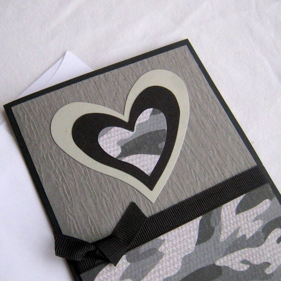 Masculine Valentine or Love Card Handmade Black and Gray Camoflauge Heart Note Card Blank Inside