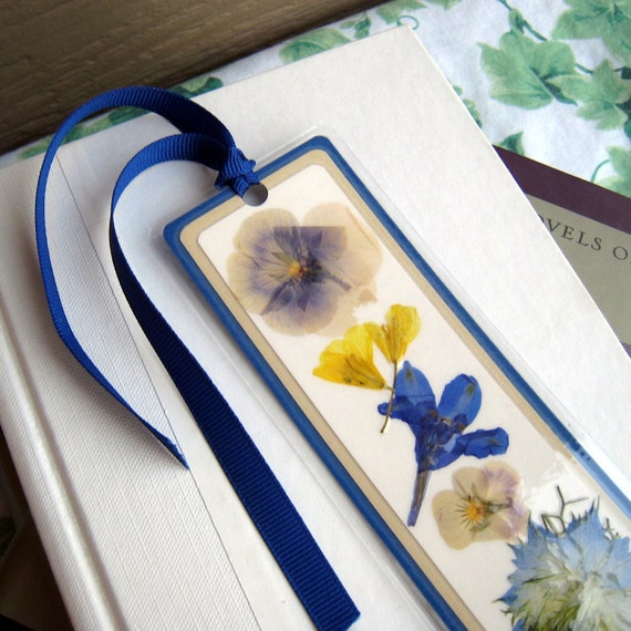 Pressed Flower Blue and Yellow Flowers Collage Style Laminated Bookmark