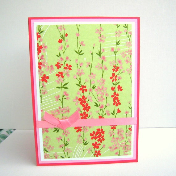 Birthday Card or All Occasion Card Spring Green With Red and Pink Floral Washi Paper Blank Inside- Customized You Choose Sentiment on Front