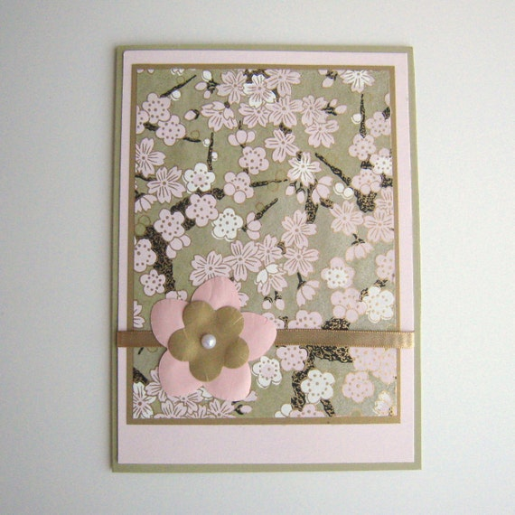 Birthday Card  Blank Card Pink and Green Floral Washi Paper Blank Inside- You Choose Sentiment on Front