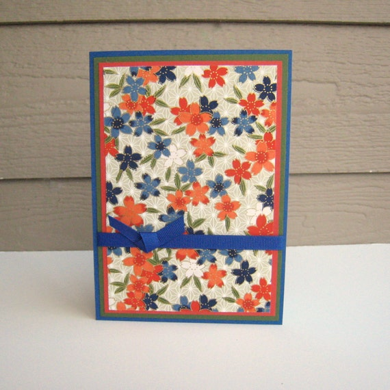 Birthday Card or Any Occasion Card Red Orange and Blue Floral Washi Paper Blank Inside- You Choose Sentiment on Front
