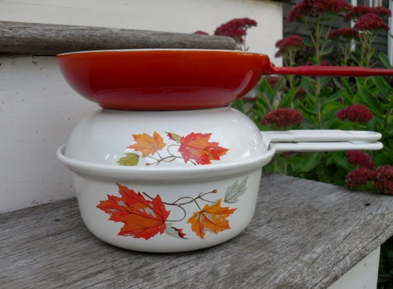 Vintage Enamelware Descoware 3 pieces of Autumn Leaves and Flame Red cook ware