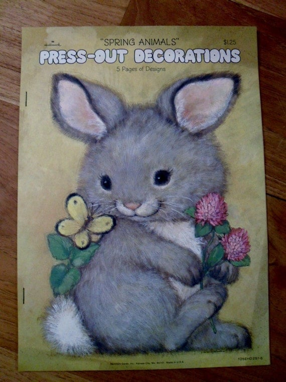 Reserved for Eric O. --vintage Hallmark Press-Out Decorations - Spring Animals