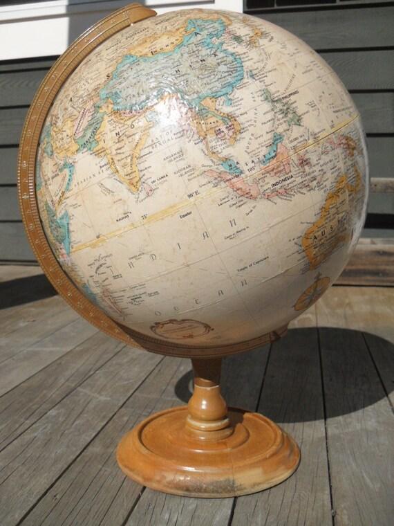 Vintage Globe by Replogle - 12 inch World Classic antique parchment color