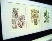 Sun God Series - 3 Gocco Printed Illustrations (5 x 7 inch)