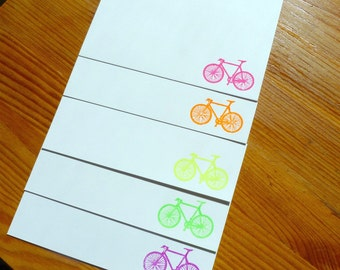 Gocco Printed Bicycle Notecards (Fluorescent 5 pack)