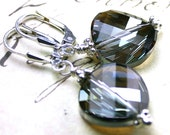 SALE - Swarovski Crystal Twist Earrings in the Unique Color Crystal Tobac - Only Pair - Sterling Silver - Free US Shipping