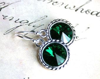 Emerald Green Swarovski Crystal Rivoli Earrings - Handmade with Swarovski Crystal and Sterling Silver