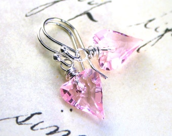 Wild Heart Swarovski Crystal Earrings in Light Rose Pink- Blush Pink - Sterling Silver and Swarovski Crystal